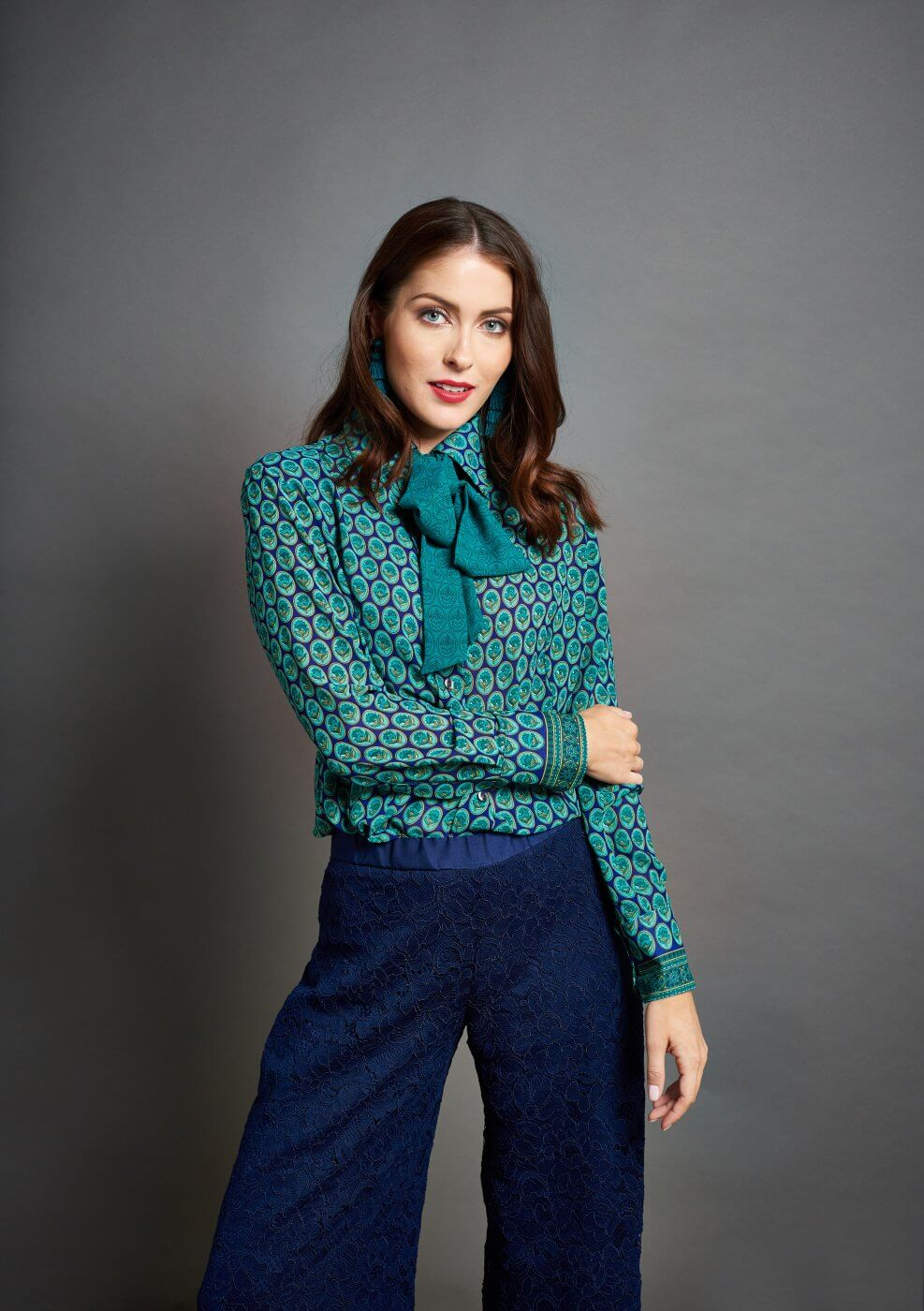 Women Modelling Bowtie Shirt   The Mustcard