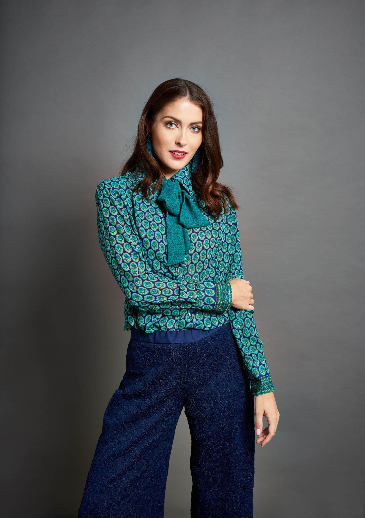 Women Modelling Bowtie Shirt | The Mustcard